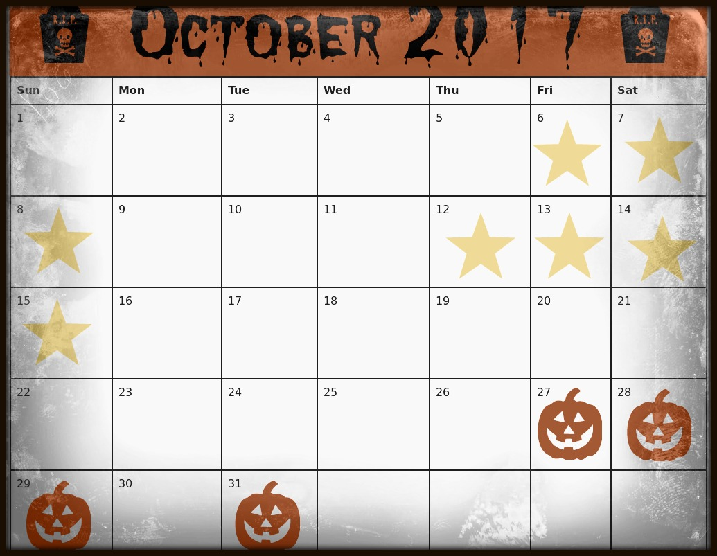 Example Haunted Houses Calendar