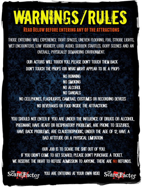 The Scare Factor Haunted Houses Warnings and Rules