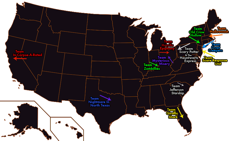 The Scare Factor's Review Teams Map