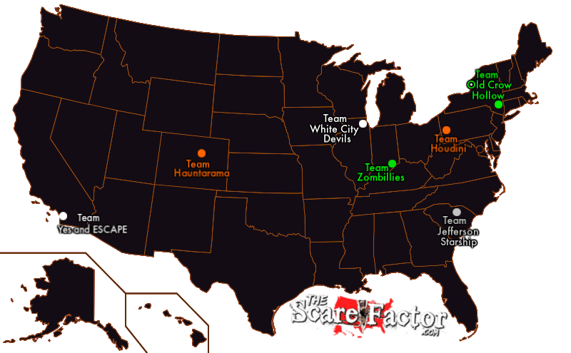 2019 Escape Room Reviewers Map